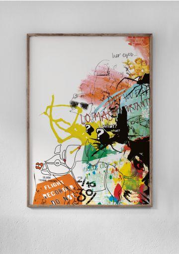 Anetmais første print – skabt tilbage i 2004. Collagen vækker minder om den iver og vildskab der brændte for at skabe nyt. Her er det printet som en miljøvenlig plakat sat i en smuk egetræsramme.