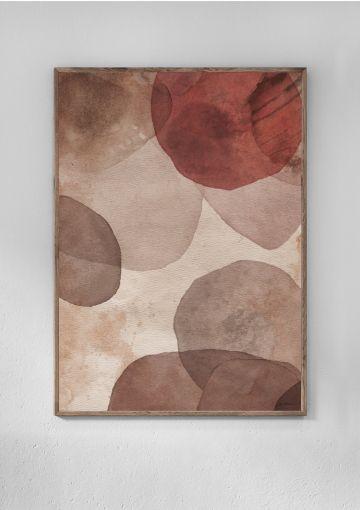 Plakat fra Anetmai. De diskrete farver og strukturen i papiret skaber dybde og bevægelse i motivet, der reflekterer relationer i livet.
